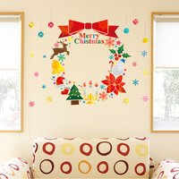 ウォールステッカー クリスマス 飾り 60×60cm シール式 装飾 オーナメント ツリー リース ...