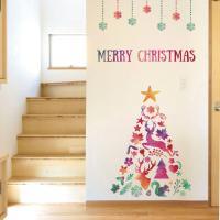 ウォールステッカー クリスマス Christmas 飾り 90×90cm Lsize シール式 装飾...