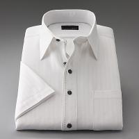 ワイシャツ 半袖 2.5ボタン スリムフィット ホ ワイトドビーストライプ|emperormart