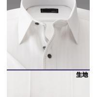 ワイシャツ 半袖 2.5ボタン スリムフィット ホ ワイトドビーストライプ|emperormart|02