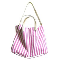 【商工会会員店です】ストライプ柄の大きなトートバッグ/ピンク