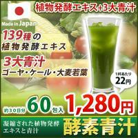凝縮された植物発酵エキスを配合した、無理なく毎日続けやすい青汁が登場!(60包入り) 飲みやすい抹茶...