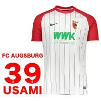 FCアウクスブルクのオフィシャルユニフォーム。クラブロゴとメーカーロゴ入り。汗を吸収し速乾性に優れて...
