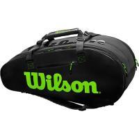 ウイルソン(Wilson) テニスバッグ スーパーツアー2 SUPER TOUR 2 COMP LARGE チャコール・グリーン WR8004201001 ラケットバッグ バックパック 9本用 部活