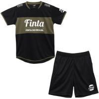 フィンタ(FINTA) メンズ サッカーウェア プラクティススーツ ブラック×オリーブグリーン FT8302 0537 上下セット フットサル トレーニングウェア