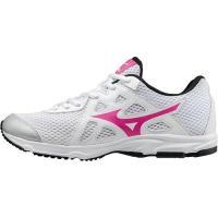 ミズノ(MIZUNO) マキシマイザー 19 Jr ホワイト×ピンク K1GC172065 ランニングシューズ スニーカー ジュニア 運動靴 女の子