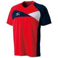 ミズノ(MIZUNO) ドライサイエンス/ゲームシャツ 82JA550065 チャイニーズレッド×ネイビー 卓球ウェア ラケットスポーツ メンズ レディース