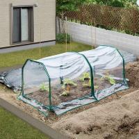 プランターや家庭菜園花壇にかぶせて冬の寒風、霜から植物を守るビニール温室セットです。フレームとビニー...