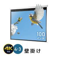 プロジェクタースクリーン 100インチ 4K 高画質 巻き上げ 吊り下げ 天吊り ロール式 壁掛け 4:3 EEX-PST3-100K