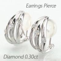 流れるようなフォルムのダイヤモンドイヤリングピアス。 3本の地金のウェーブラインにダイヤモンドを1石...