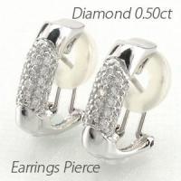 きらびやかな輝きのダイヤモンドパヴェイヤリングピアス。 立体感のある地金に5列のダイヤモンドをパヴェ...