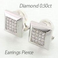 ゴージャスな輝きのダイヤモンドパヴェイヤリングピアス。 地金のスクエアデザインの中にパヴェセッティン...