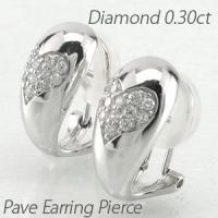 地金にハートダイヤのダイヤモンドパヴェイヤリングピアス。 柔らかく丸みのある地金にハート模様のパヴェ...