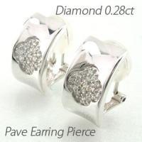 地金にフラワーモチーフのダイヤモンドパヴェイヤリングピアス。 鏡面の地金にフラワー模様のパヴェセッテ...