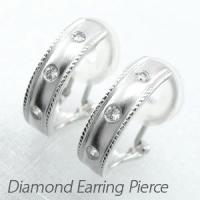 スクエアシルエットのダイヤモンドイヤリングピアス。  デザインの両サイドの繊細なミル打ちラインがアン...