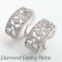 アラベスクモチーフのダイヤモンドイヤリングピアス。  イスラム美術のアラベスク模様を繊細な地金のライ...