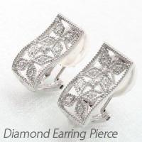 フラワーモチーフのダイヤモンドイヤリングピアス。  スクエアの中にひし形を巧みに組み合わせフラワーを...