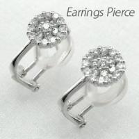 フラワーモチーフのダイヤモンドイヤリングピアス。 円形のデザインに綺麗にダイヤモンドを整列。  きら...