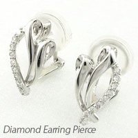 シンプルなデザインのダイヤモンドイヤリングピアス。  ふっくらと優しくカーブした地金がエレガントなシ...