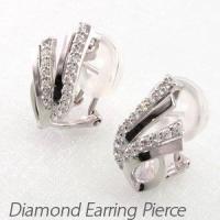 フェザーモチーフのダイヤモンドイヤリングピアス。  艶やかな地金で繊細なフェザーのシルエットを表現。...
