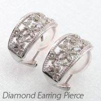 フラワーモチーフのダイヤモンドイヤリングピアス。  熟練の職人技で地金を使い桜の花を巧みに表現しまし...