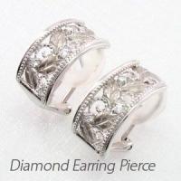 フラワーモチーフのダイヤモンドイヤリングピアス。  熟練の職人技で地金を使い植物の葉を巧みに表現しま...