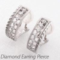 デコラティブなアンティークダイヤモンドイヤリングピアス。 透かしのデザインの間にダイヤモンドを1列に...