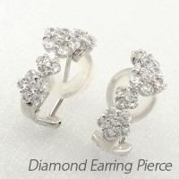 フラワーモチーフのダイヤモンドイヤリングピアス。 ダイヤモンド6石と5石を使って1つの花を表現しまし...