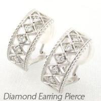 アンティークなモチーフのダイヤモンドイヤリングピアス。  地金を編みこむようにメッシュに透かし模様に...