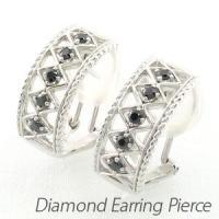 アンティークなモチーフのブラックダイヤモンドイヤリングピアス。  地金を編みこむようにメッシュに透か...