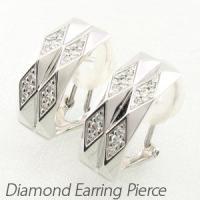ひし形を組み合わせたダイヤモンドイヤリングピアス。  ひし形のデザインの中にダイヤモンドをセッティン...