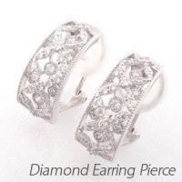 格子のように重なるダイヤモンドイヤリングピアス。  ラティスをイメージして地金を重ねたデザイン。  ...