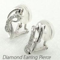 シンプルなデザインのダイヤモンドイヤリングピアス。  地金をふっくらとしたラインで組み合わせて柔らか...