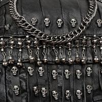ヤラックス ハンドバッグ レディースファッション カバン YALUXE Women's Skull Studded Bling Tassel Lambskin Leather Purse Cross Body Shoulder Bag