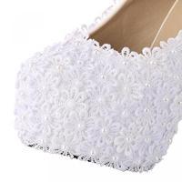 ベルカンズ レディース パンプス ハイヒール 靴・シューズ VELCANS Studded White Flower Lace High Heel Bridal Bridesmaid Wedding and Prom Pumps Shoes