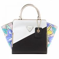 ゲス バッグ 新作 レディースファッション Guess Women's Amber Black Multi Satchel Handbag