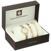 アンクライン ドレス レディース 最新 ファッション Anne Klein Women's AK/2844GBST Swarovski Crystal Accented Gold-Tone Mesh Bracelet Watch and Bangle