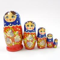 ロシア製 カラフルマトリョーシカ 5個組 (ネイビー×レッド)  ロシアの木製の人形で伝統的な民芸品...