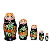 ロシア製 ホフロマ柄つやつやマトリョーシカ 5個組 ホフロマ・いちご柄(黒)  ロシアの木製の人形で...
