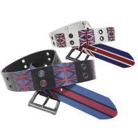 ベルト メンズ 人気のイギリス国旗をモチーフにしたプリントベルトです。さらにアイレットをはめ込んでハ...