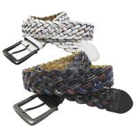 カラーステッチ入りの合皮をメッシュ編みにしたベルトです。 ビンテージ風のバックルが重厚感あって雰囲気...