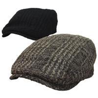 ポリエステルニットトで編み上げたハンチングです。凹凸のある飾り編みがおしゃれなスタイルです。後ろがゴ...