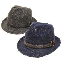 帽子 中折れハット メンズ レディース  ところどころ違うカラーが混ざったネップヤーンで編み上げたニ...