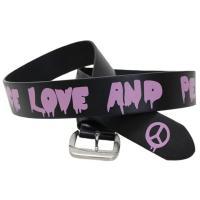 【LOVE&PEACE】をちょっとパンク風にデザインしたプリントがインパクトあるシングルピンベルトで...