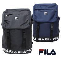 FILAのロゴがさりげなくついているシンプルなポリエステルリュックです。 巾着型にダブルバックルがつ...