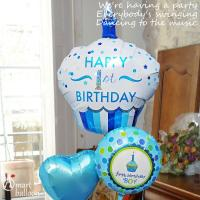 1歳 男の子 誕生日 バルーンギフト カップケーキ 1stバースデー 【Boy】 (3)119923_119587 風船 バルーン電報 孫 誕生日プレゼント|express