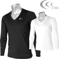 C3fit(シースリーフィット) ゴルフウエア クーリング Vネック 長袖シャツ 3F08111