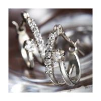 【商品名】 K10WG(ホワイトゴールド) ダイヤ計0.1ctエタニティピアス ダイヤモンドピアス ...