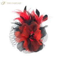 コサージュ 入学式 コサージュ 成人式 2way ヘッドドレス フェーザー コサージュ 大輪 髪飾り fh18002rdbk