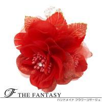 コサージュ 入学式 コサージュ フォーマル コサージュ 蘭 髪飾り 2way 赤 花  ヘッドドレス 発表会 fh19161rd